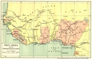 Africa Map Nigeria.Nigeria West Africa Showing Railways Principal Rivers 1936 Old