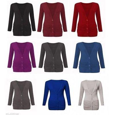 Praktisch Womens Ladies Button Up Boyfriend Cardigan Top Long Sleeve Cardigan Jumper 8-26 Elegant Und Anmutig