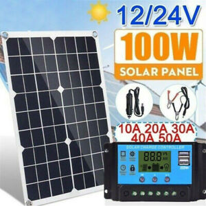100W-Solar-Panel-kit-12V-battery-Charger-20A-LCD-Controller-Caravan-Van-Boat-RV