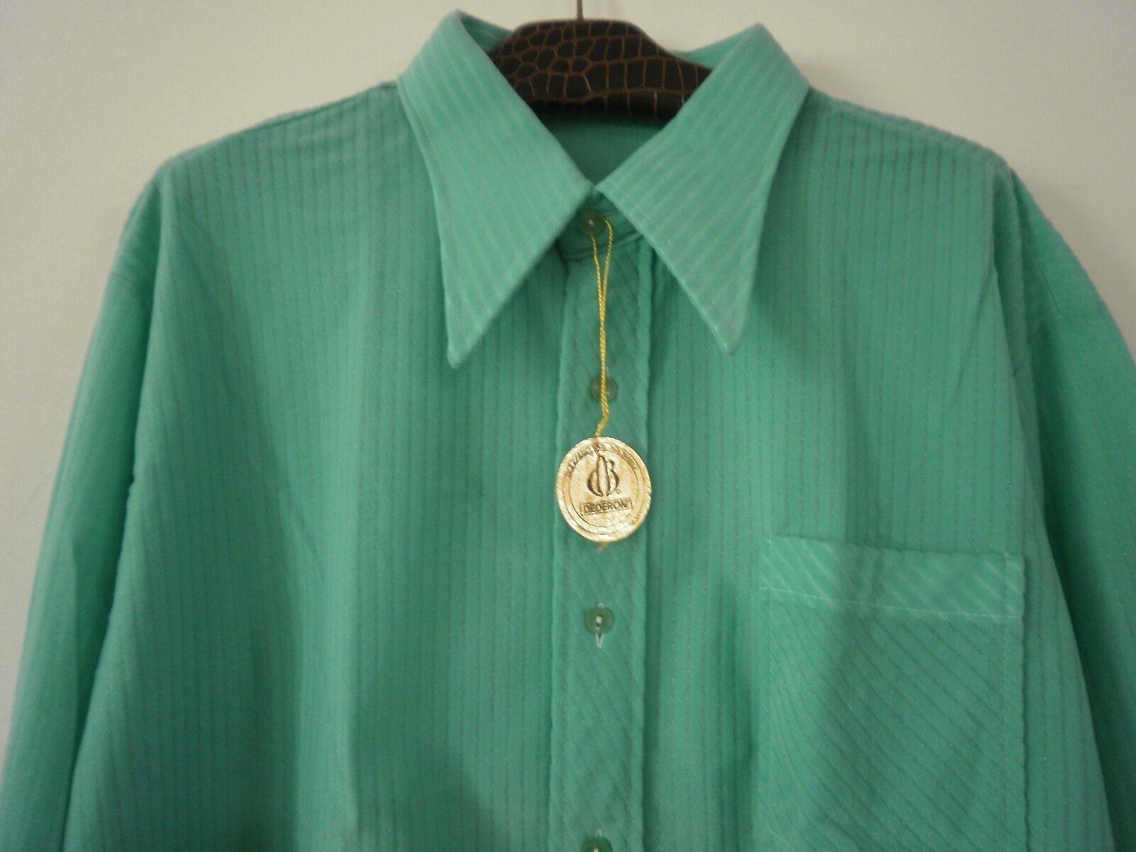 NYLON Herren Hemd Shirt VEB Modehemd Freizeithemden NOS 46 grün VINTAGE 70er     | Die Farbe ist sehr auffällig