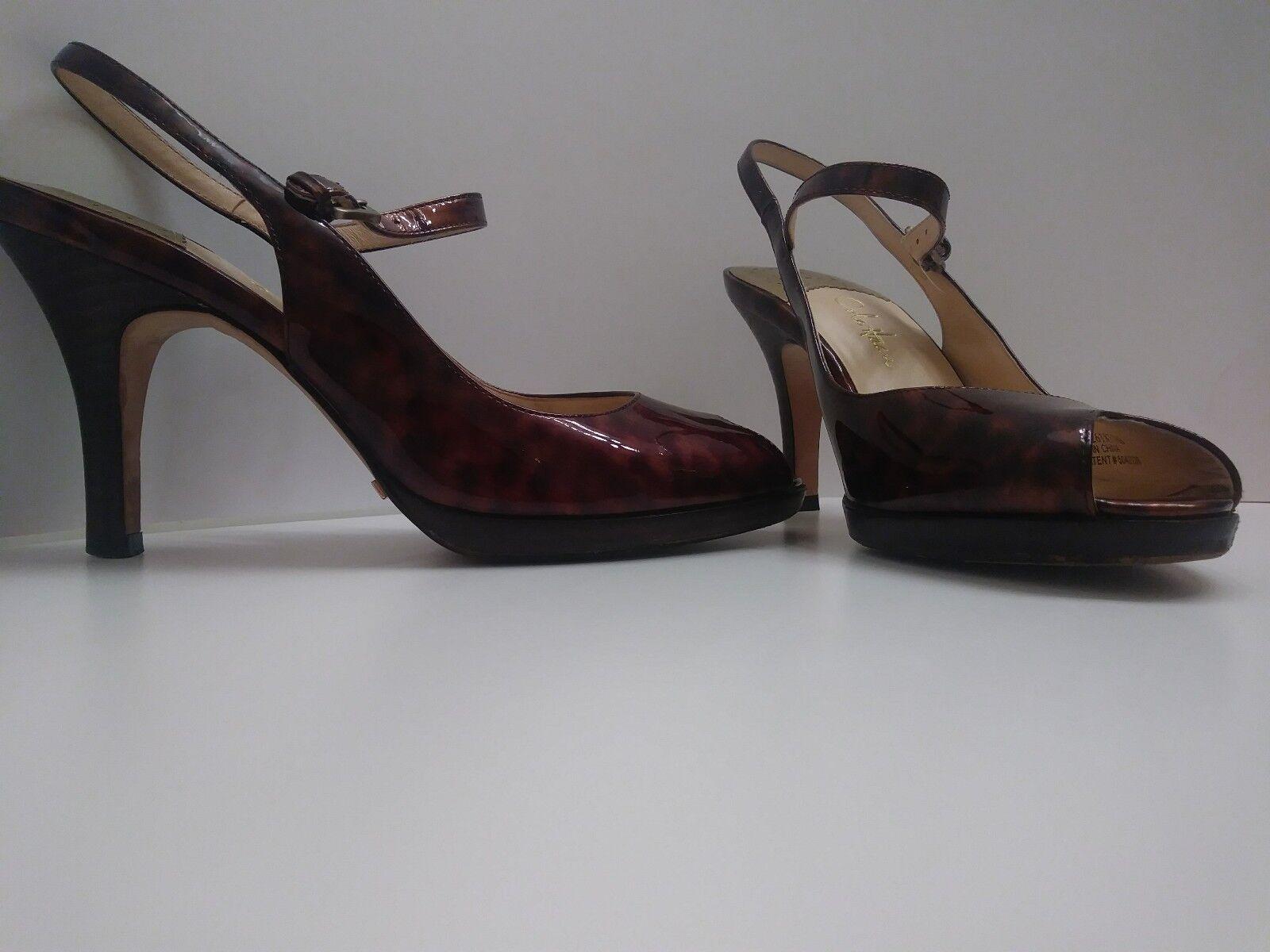 Ladies COLE HAAN 1/2 pump Shoes Sz 7 1/2 HAAN NikeAir patent leopard leather ptoe $229 d161d9