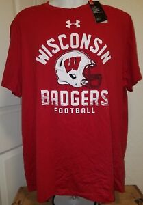 best service 3b8be 249c5 Details about ID#2030 X-Large Wisconsin Badgers Football Under Armour Heat  Gear Red -NWT