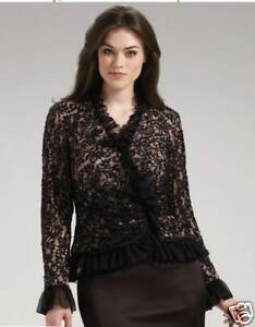 Candid New Rrp $420 Tadashi Salon Z Ruffled Evening Beaded Lace Top 16 /18 Last Mixed Items & Lots