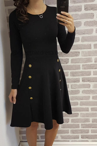 size Ladies Military Midi Skater Women/'s Long Sleeve Button Dress available in