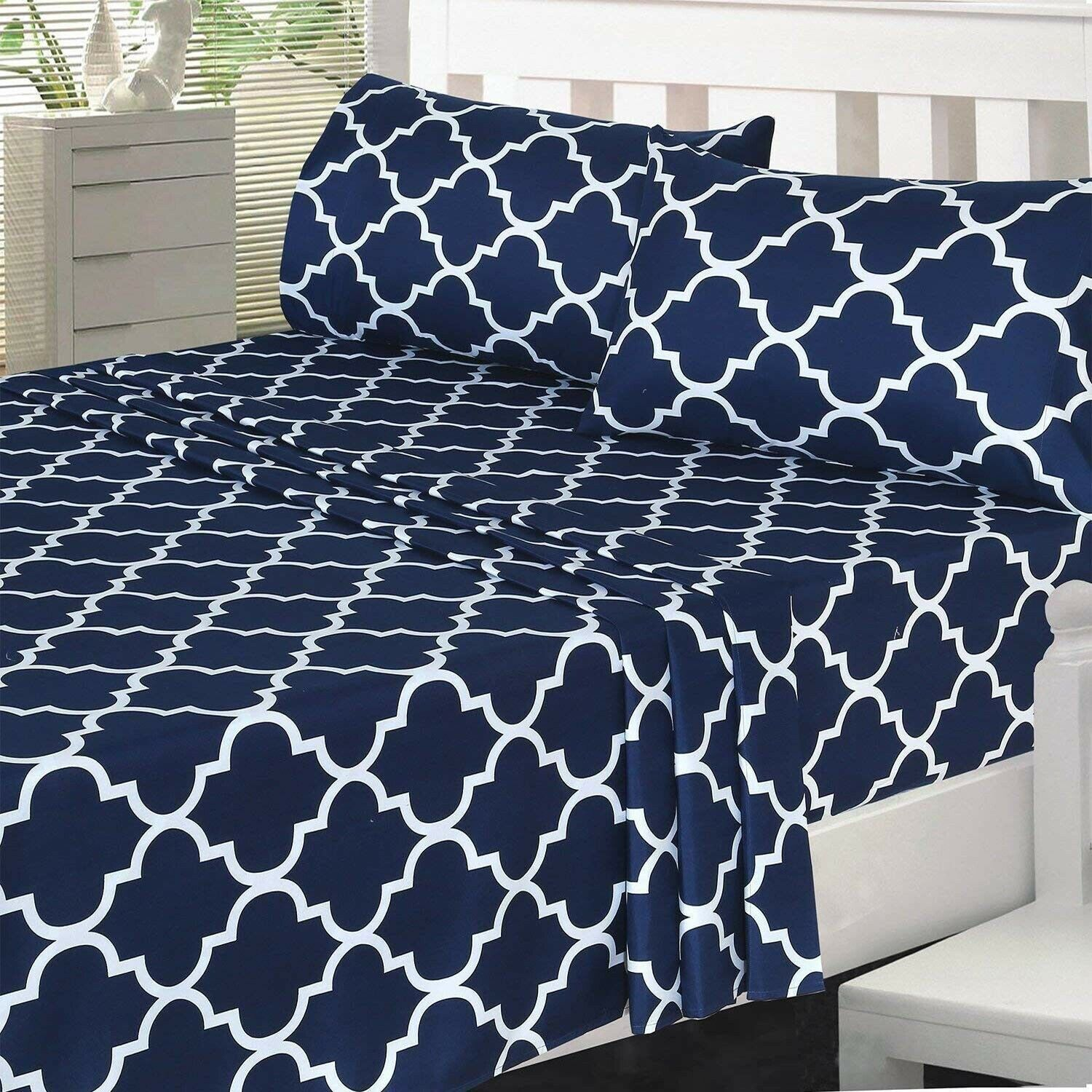 1 Fitted Sheet 1 Flat Sheet Queen, Navy and 2 Pillow Cases UB0371 Utopia Bedding 4 Piece Bed Sheet Set