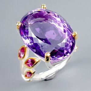 Handmade24ct-Natural-Amethyst-925-Sterling-Silver-Ring-Size-9-R119622