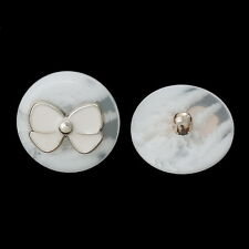 10PCs Resin Shank Buttons White Butterfly Pattern Sewing DIY Scrapbook 25mm