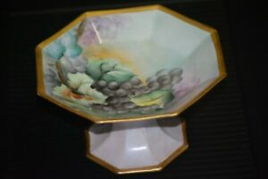 Antique-Hand-Painted-Limoges-Compote-Grape-Design-with-Gold-Accents-Walcott