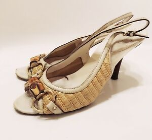 5e79584e4 Image is loading GUCCI-Gold-Basket-Weave-White-Leather-Buckle-Slingback-