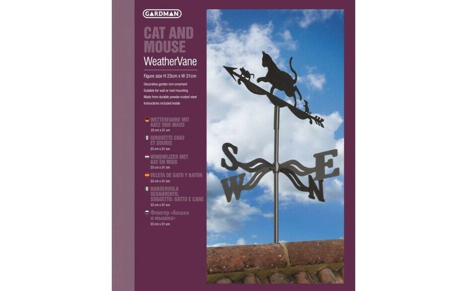 Weather Vane Cat & Mouse Wind Direction Compass