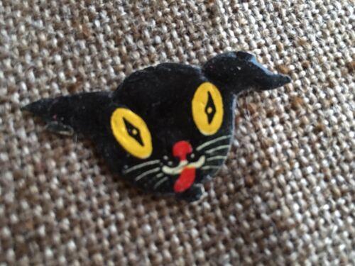 "Vintage 1920/'s German Black Cat,Yellow Eyes Halloween Scrap Decoration,1 3//4/"""