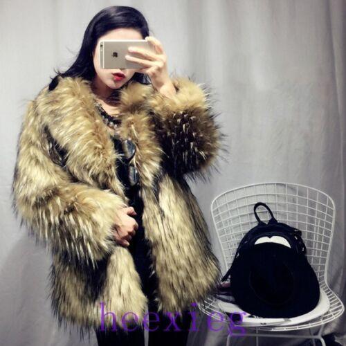 New Womens Lapel Winter Real Fox Fur Clothing Warm Jacket Mid Calf Outwear Coat