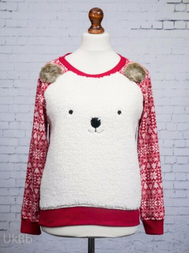 M/&S Cosy Fleece Pyjama Top Red Ivory Snowflake Nordic Square Polar Bear