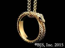 24k Gold Plated Great Serpent Ring Necklace, Wheel of Time Jewelry, Ouroboros