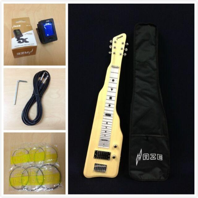 Haze Solid White Poplar Body Electric LAP Steel Guitar,Gloss Natural+Free Bag