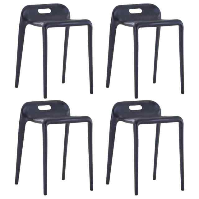 Sedie In Plastica Per Esterno.Vidaxl 4x Sgabelli Impilabili Neri In Plastica Per Interni Esterni