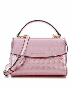 978132275029 Michael Michael Kors Ava Mini Glimmering Soft Pink Metallic Leather ...
