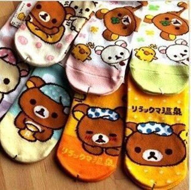 Rilakkuma Relax Bear Girls Women Ladies Cotton Soft Cute Socks Random Color