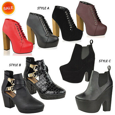 NEW WOMENS LADIES MID HIGH HEEL PLATFORM CHELSEA ANKLE BOOTS FASHION SHOES SIZE