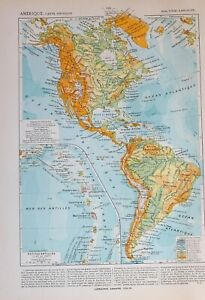 1913 Landkarte America Physikalisch Guadeloupe Central Bolivien Umhang Horn