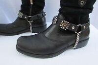 Biker Men Western Boot Silver Chains Pair Leather Straps Bracelet Iron Cross