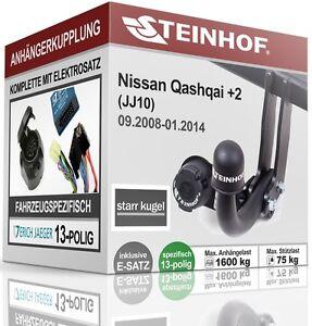 Anhaengerkupplung-fest-NISSAN-QASHQAI-2-JJ10-J10-2008-2014-E-SATZ-13p-SPEZIFISCH