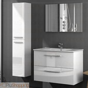 Détails sur Meuble Salle de Bain Suspendu 2 Tiroirs Bois Laqué Blanc Lavabo  Miroir Colonne