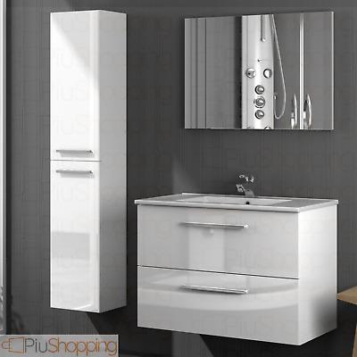Meuble salle de bain suspendu 2 tiroirs bois laqu blanc - Meuble de salle de bain laque blanc ...