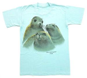 Vintage Sea lions Chicago Aquarium Tee Light Blue Size S Single Stitch T-Shirt