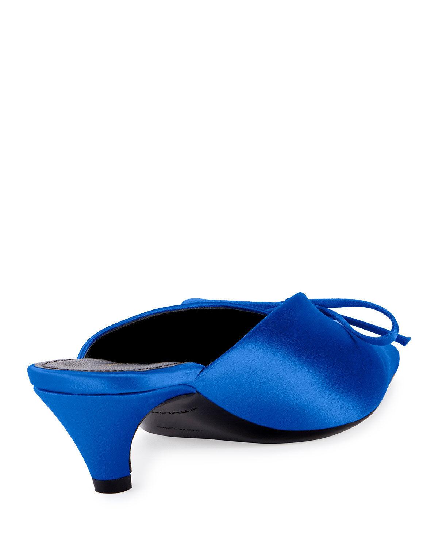 Balenciaga Satin Satin Satin Pointed-Toe Slide Mule schuhe Größe 37 MSRP   750.00 45ca34