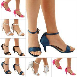New-Ladies-Wedding-Bridal-Prom-Evening-Low-kitten-Heel-Satin-Sandals-size-345678
