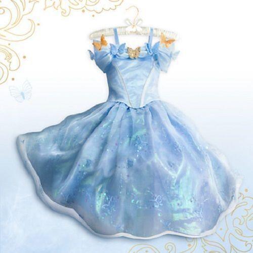 Disney`Cinderella`Dress`Movie Sandy Girl Princess Gown Cosplay Costume  Age 3-10