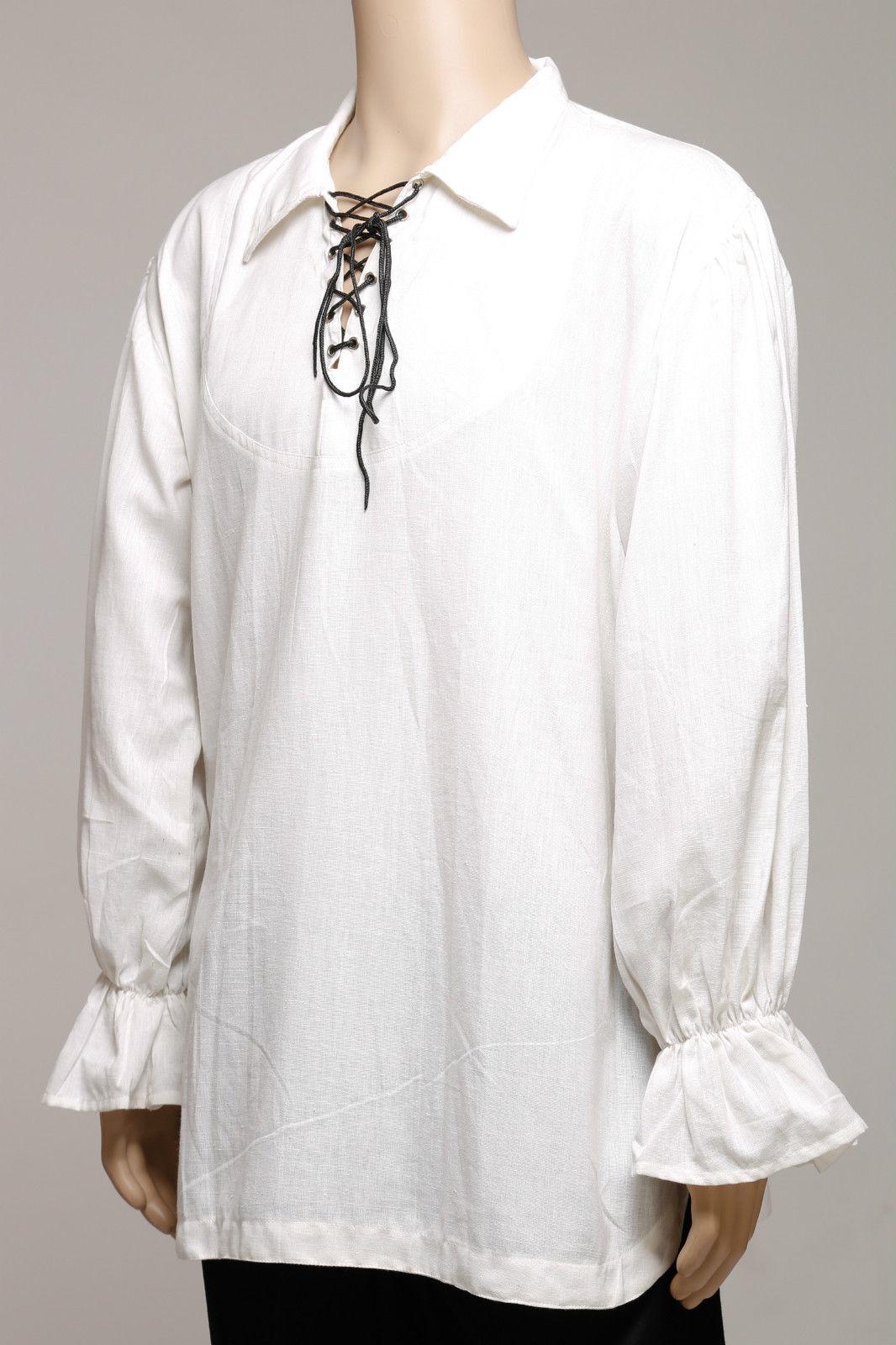 Casual estate Rinascimento Pirata medieval shirt Bianca Uomo Colletto Colletto Colletto Polsini fluttuante 9e83bf
