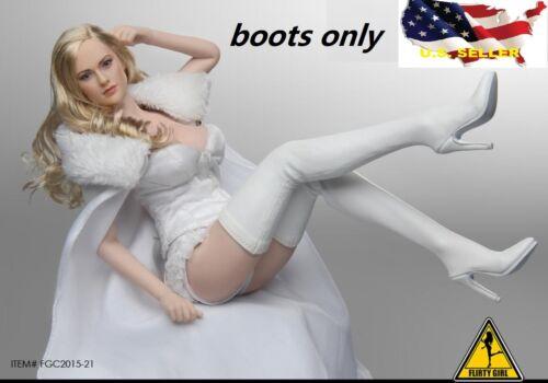 1//6 Femmes Bottes Blanches Fashion Dessus Genou-Haut Classique pour Phicen Hot Toys ❶ USA ❶