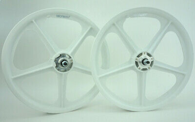 "Skyway tuff 2 II wheels WHITE freewheel Pair Old School BMX 20/"" 3//8 Made USA"