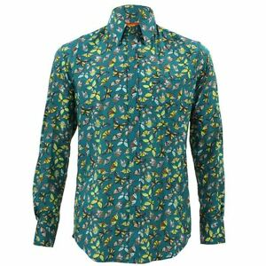 Shirt Party Green Fit Funky Psychedelic Mens Loud Tailored Retro Butterfly aq5661