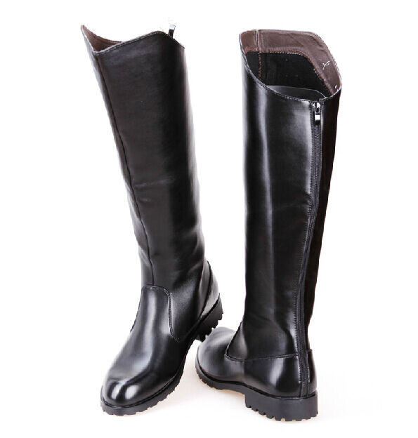 Mens faux Leather Military Long Riding Back Zipper Low Block Heel Parade Boots