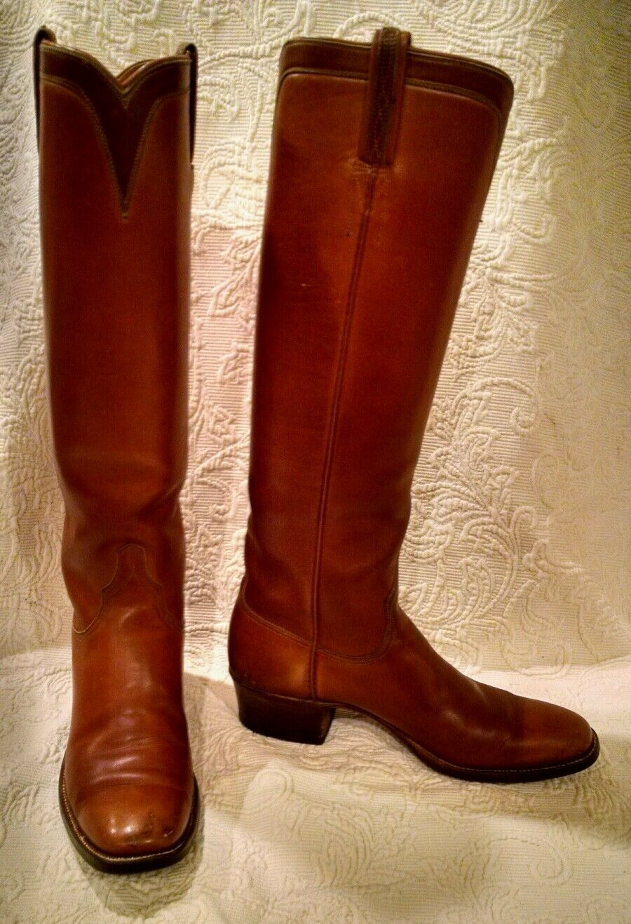 RARE Vintage-LUCCHESE Women 7.5AAA: Brown Leather Tall Riding Custom Equestrian