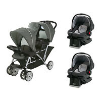 Graco Duoglider Click Connect Double Stroller + Snugride Car Seats Travel System on sale