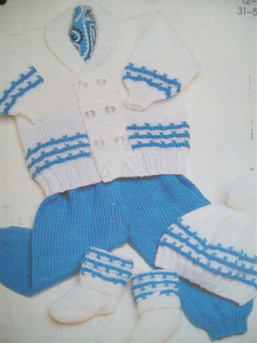 Baby Boys Double Breasted Jacket Trousers Hat Boots KNITTING PATTERN DK 12-20in