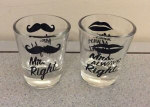 Funny Wedding Gifts.Details About Funny Wedding Gifts Mr Right And Mrs Always Right Novelty Shot Glasses