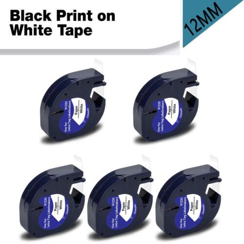 5X 91220 kompatibel Dymo LetraTag LT-100H 100T XR Etikettenband Weiß Papier 12mm