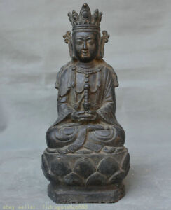 "9.6 ""Ancien Temple du Bouddhisme de Chine ancienne Bronze Kwan-Yin Guan Yin"