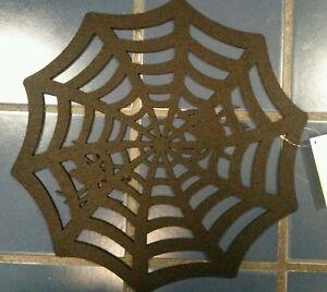 "HALLOWEEN SPIDER WEB THICK BLACK FELT DIECUT CUT OUT PLACEMAT 16"" ACROSS SET/2"