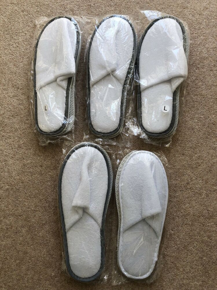 5 X Home Hotel Chaussons Coton Blanc P4