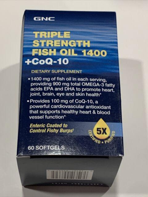 GNC Triple Strength Fish Oil 1400+ CoQ-10, 60 Softgels BEST BY 9/21 (24)