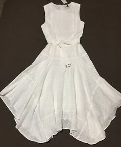 Calvin Klein Sz 8 White Eyelet Fit Flare Sleeveless Summer Beach Wedding Dress Ebay,Knee Length Fall Wedding Guest Dresses With Sleeves