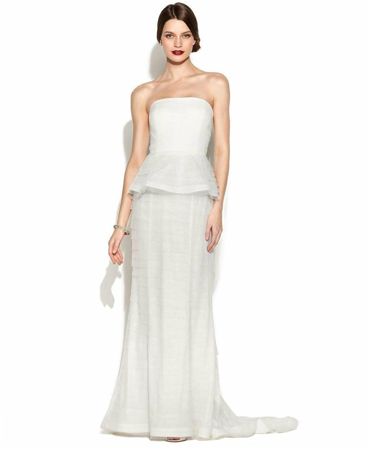 0882039d0e3 Adrianna Papell Ivory Strapless Tiered Peplum Gown Size 16 NWT Wedding  Bridal