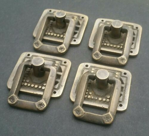 """4 Arts and Crafts Mission antique style brass ring pull handles ~1 1//4/"""" #H29"""