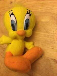Tweety-Bird-6-034-Lying-Down-Bean-Bag-Plush-Toy-Doll-Play-by-Play-1997